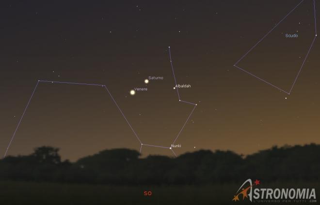 Congiunzione Venere - Saturno, giorno 11 ore 17:30