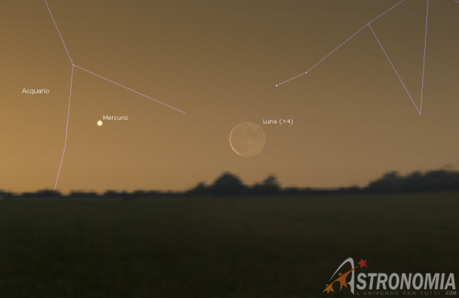 Congiunzione Luna - Mercurio, giorno 21 ore 5:40