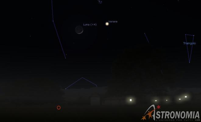 Congiunzione Luna - Venere, giorno 28 ore 20:30