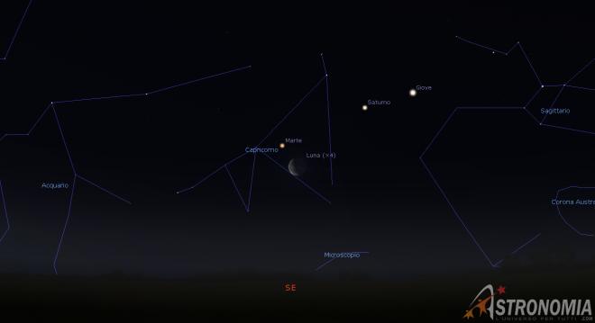 Congiunzione Luna - Marte, giorno 16 ore 5