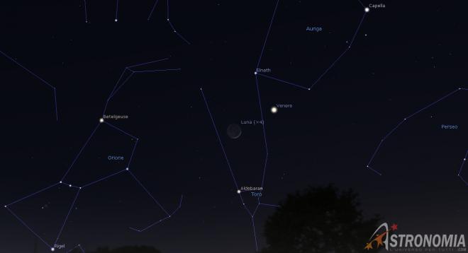 Congiunzione Luna - Venere, giorno 26 ore 21