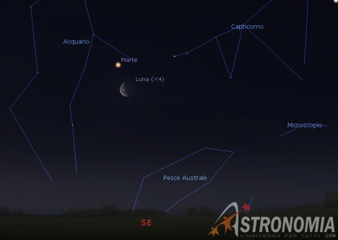 Congiunzione Luna - Marte, giorno 15 ore 5