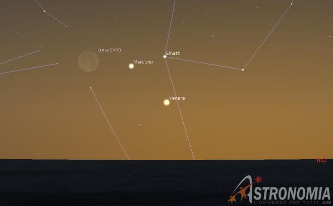 Congiunzione Luna - Mercurio - Venere, giorno 24 ore 21