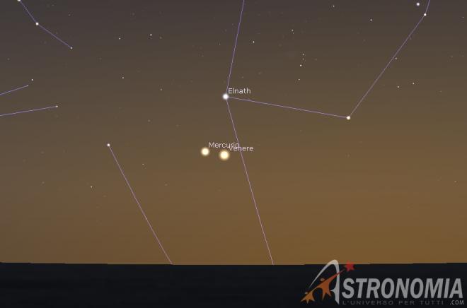 Congiunzione Venere - Mercurio, giorno 22 ore 21
