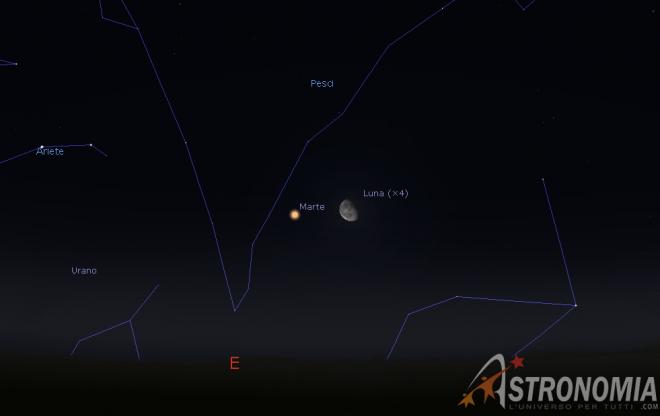 Congiunzione Luna - Marte, giorno 9 ore 00:30
