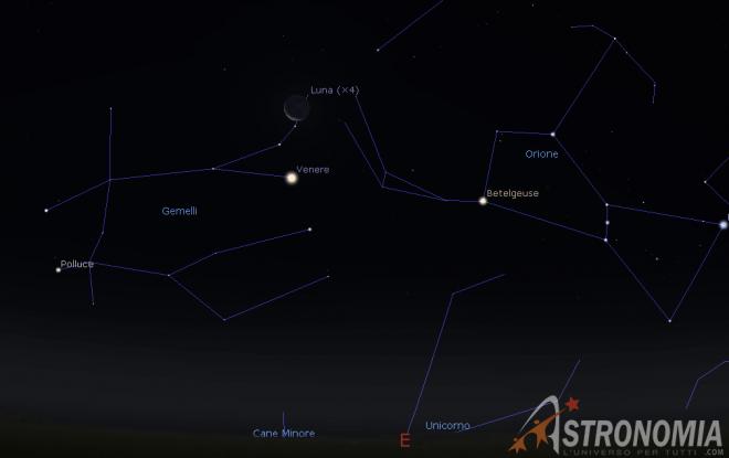 Congiunzione Luna - Venere, giorno 15 ore 05:00