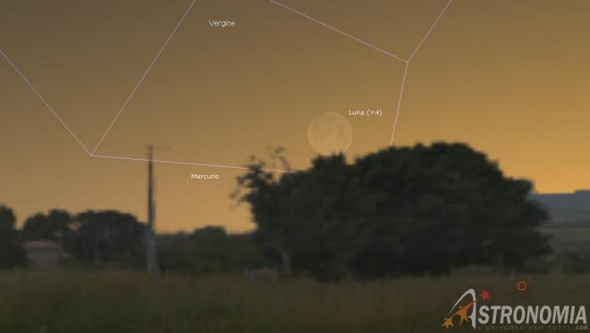 Congiunzione Luna - Mercurio, giorno 18 ore 19:30