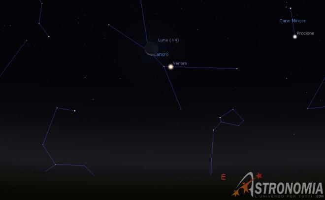 Congiunzione Luna - Venere, giorno 14 ore 5