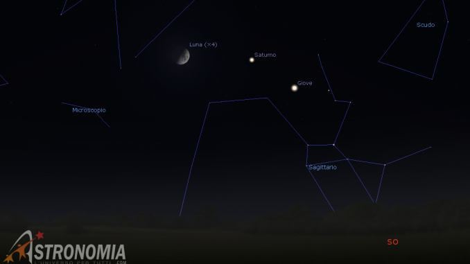 Congiunzione Luna - Saturno, giorno 23 ore 20:30