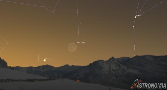 Congiunzione Luna - Venere, giorno 11 ore 7
