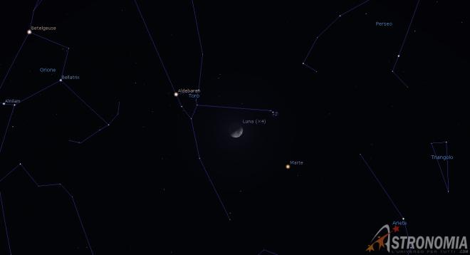 Congiunzione Luna - Pleiadi, giorno 19 ore 20