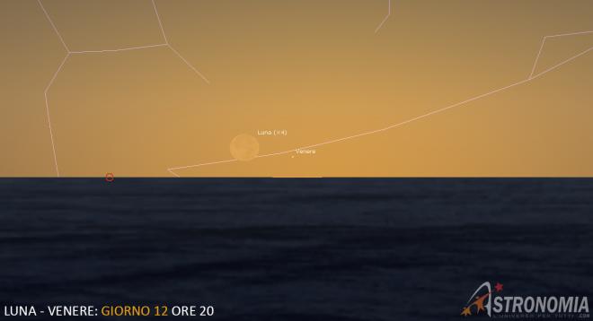 Congiunzione Luna - Venere, giorno 12 ore 20