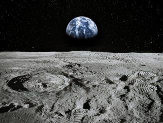 Immagine prospettica di Luna-Terra