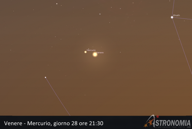 Congiunzione Venere - Mercurio, giorno 28 ore 21:30