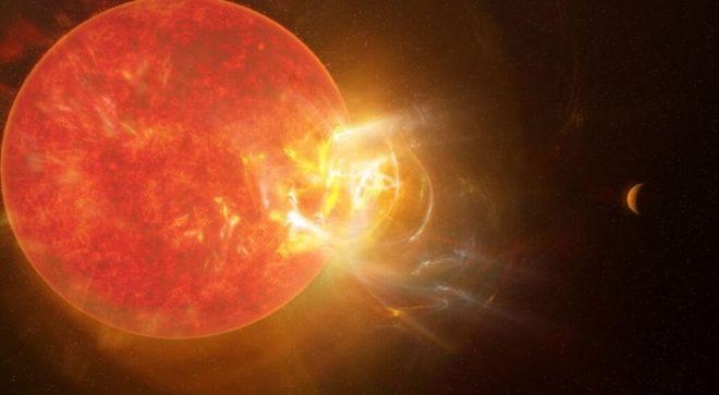 Rappresentazione artistica di Proxima Centauri e delle sue eruzioni energetiche. Fonte: Forbes