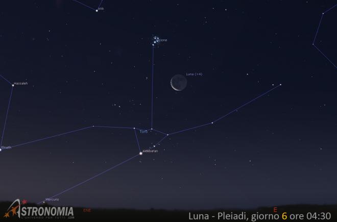 Congiunzione Luna - Pleiadi, giorno 6 ore 4:30