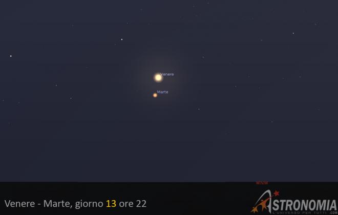 Congiunzione Venere - Marte, giorno 12 ore 22