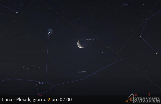 Congiunzione Luna - Pleiadi, giorno 2 ore 02:00