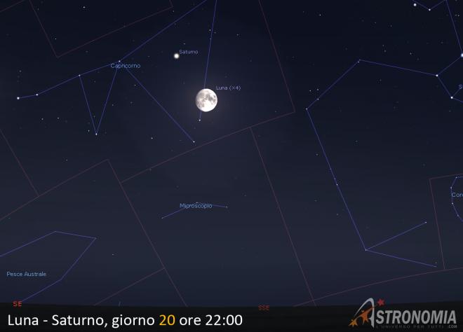 Congiunzione Luna - Saturno, giorno 20 ore 22:00