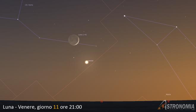 Congiunzione Luna - Venere, giorno 11 ore 21:00