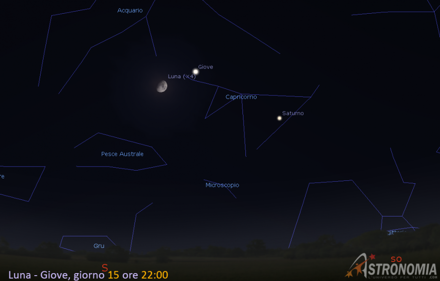 Congiunzione Luna - Giove, giorno 15 ore 22