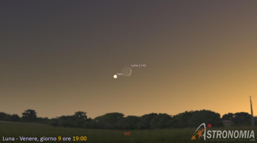 Congiunzione Luna - Venere, giorno 9 ore 19